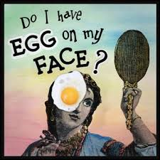 Painting of woman looking into hand mirror with egg on her face